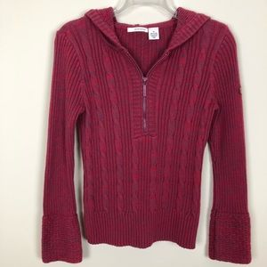 DKNY Pinkish Red & Purple Hoodie Sweater
